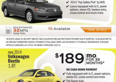 Volkswagen dealer fall promo
